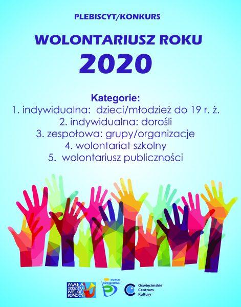 plakat propagujący konkurs wolontariusz roku 2020