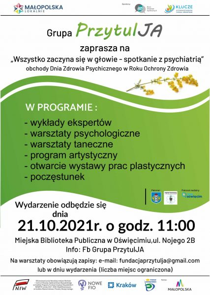 Plakat zaproszenia naspotkanie zpsychiatrią